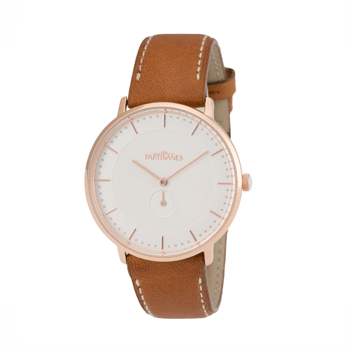 Montre L'AMOUREUSE Or Rose bracelet camel