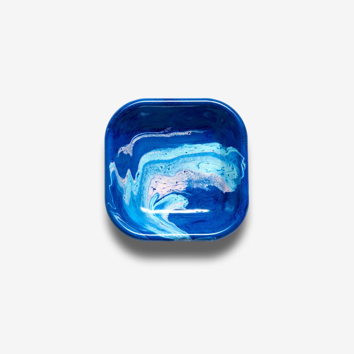 Bol carré émaillé Marble bleu