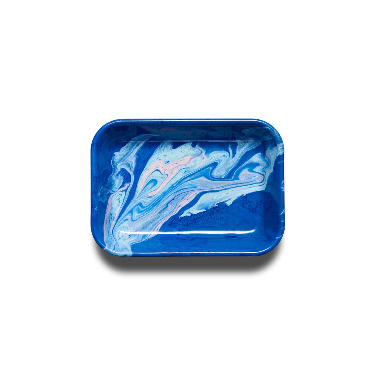 Plateau émaillé Marble bleu