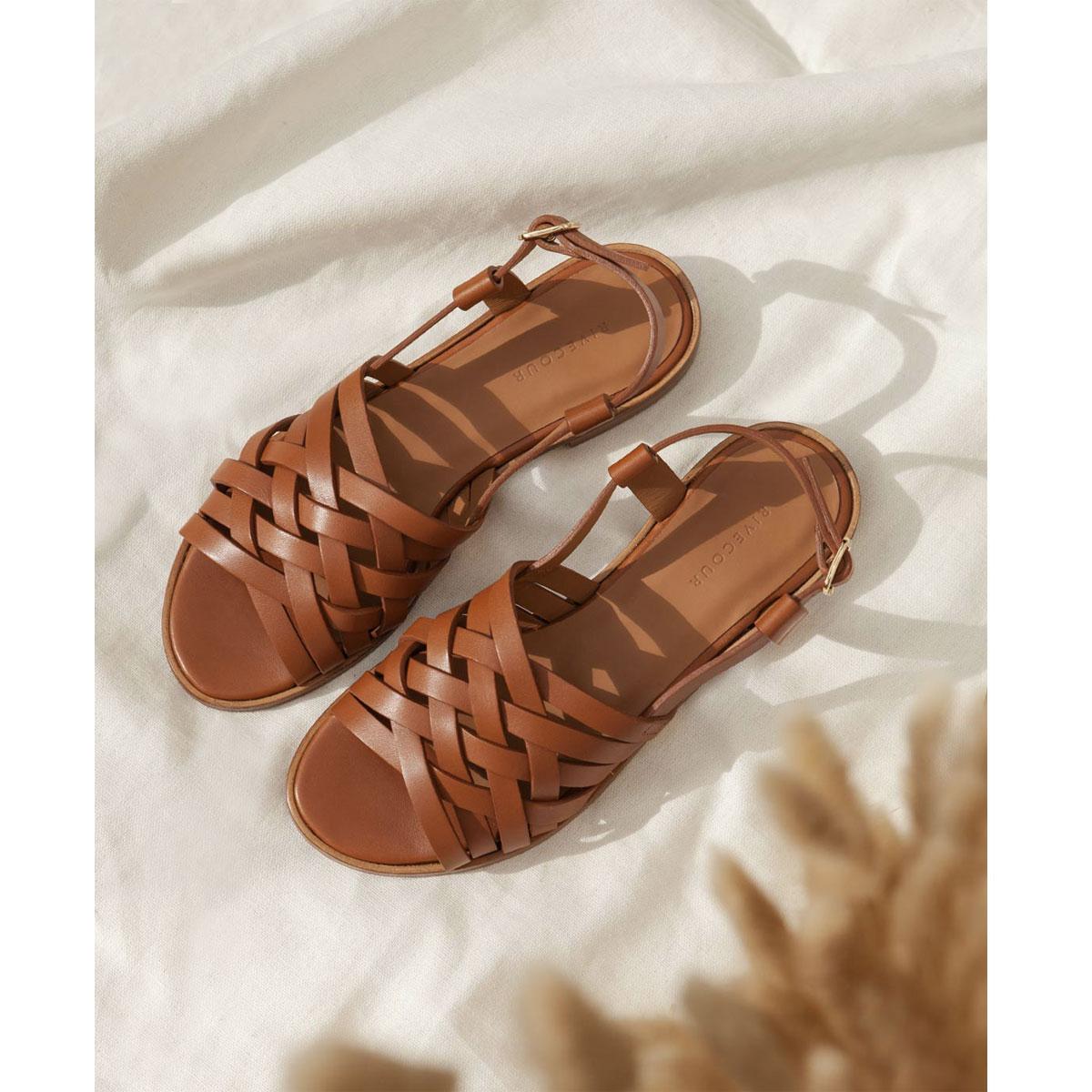 Sandales N°63 Cognac
