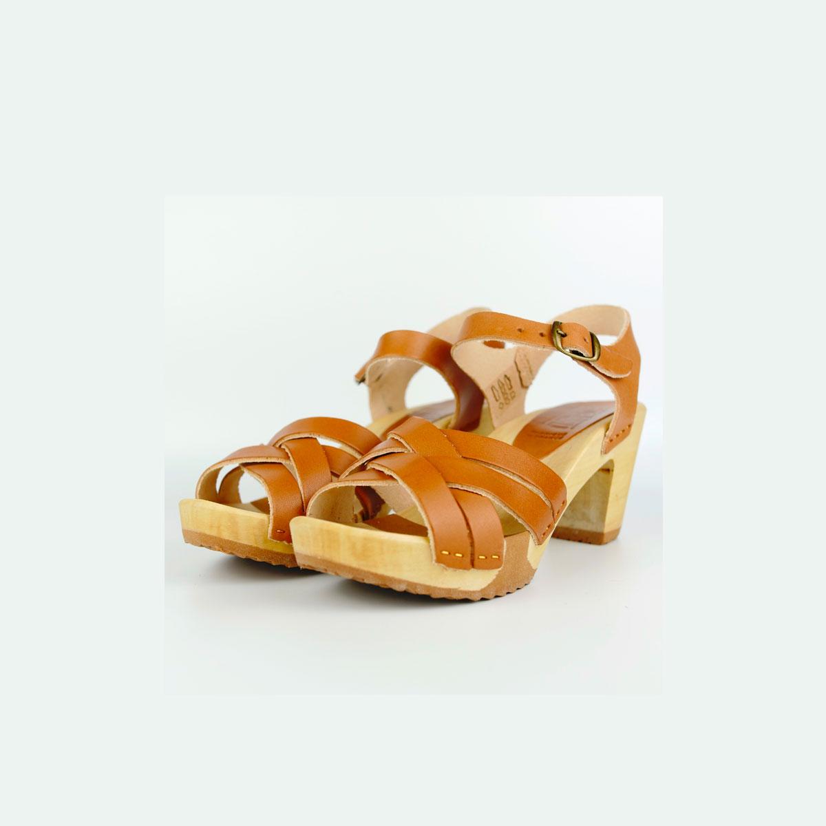 Sandales sur semelle bois flexi CUIR B.VEGETAL doe