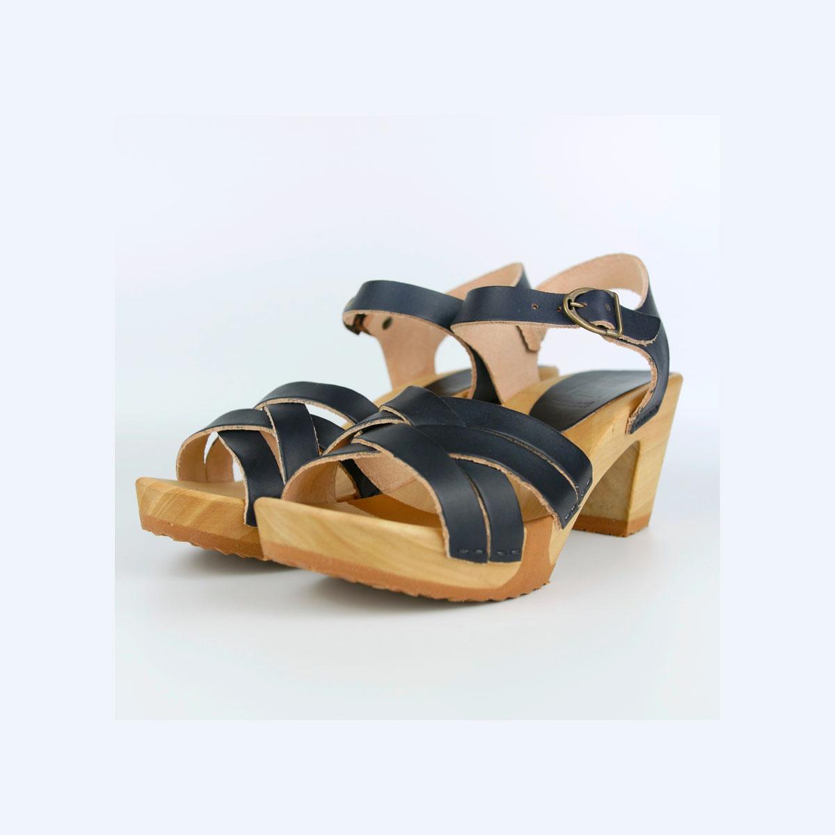 Sandales sur semelle bois flexi CUIR B.VEGETAL navy