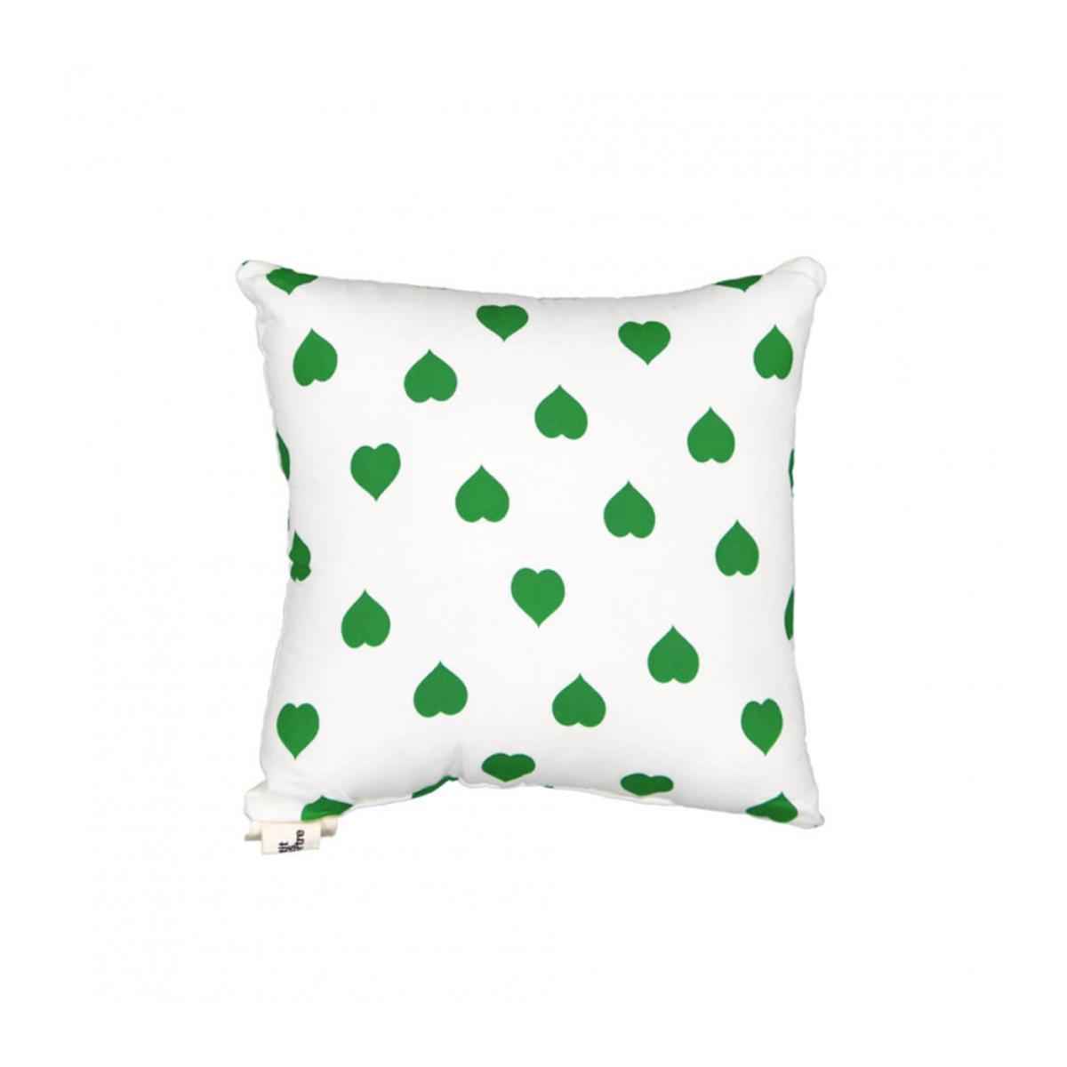 LE PETIT LUCAS DU TERTRE Coussin Green Heart on White